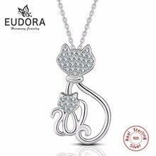 Eudora Genuine 925 Sterling Silver Necklaces Cats Pendants&Necklaces Sterling Silver 925 Kitty Necklace Fashion Jewelry Colar de