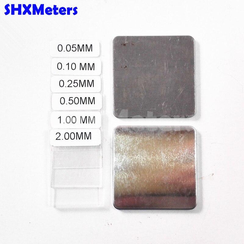 Conjunto de calibração com Chapas De Ferro e 6 pcs Filmes de Revestimento de Alumínio para GM200 Medidor de Espessura de Revestimento