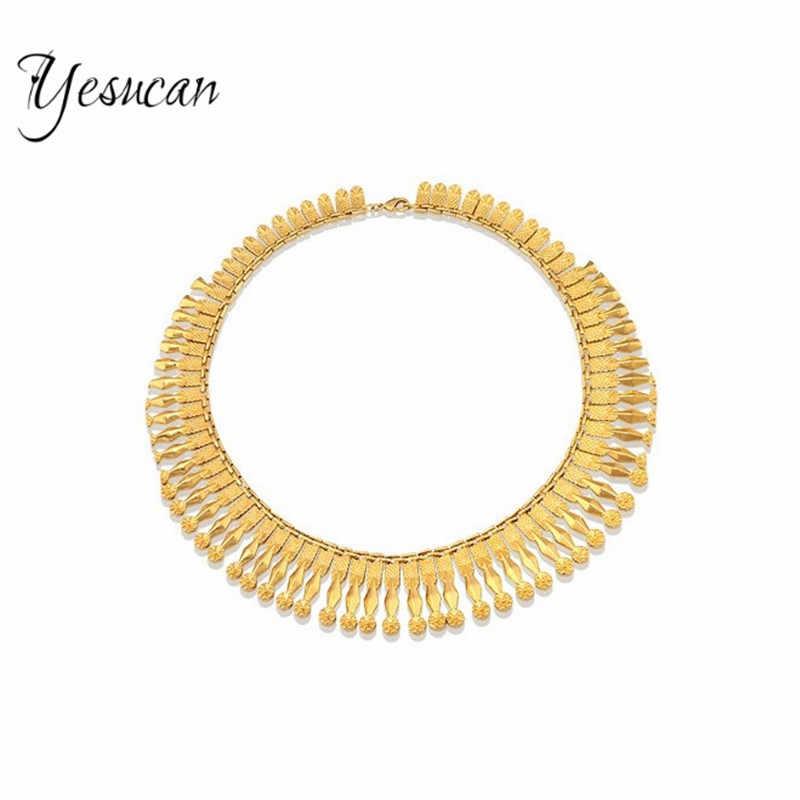 Yesucan miedzi Tassel collar Chokers biżuteria szyi na szelkach momenty łańcucha frędzle oświadczenie naszyjnik wisiorek kobiety biżuteria ślubna