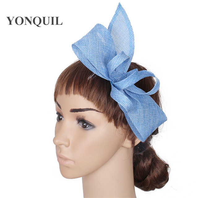 elegant imitation sinamay fascinators base with feather wedding headwear occasion  hats women light blue hair accessories 17color cfd699dca6e