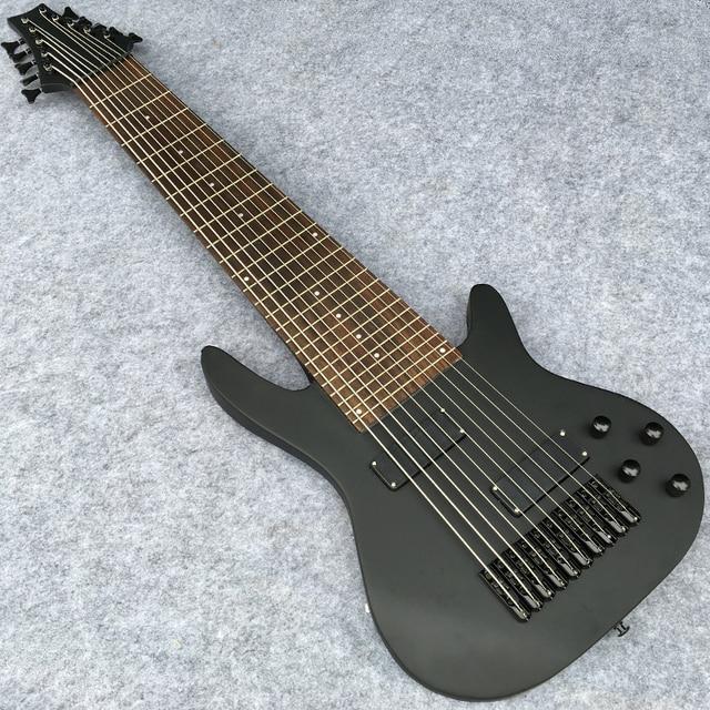 10 string electric bass in matte black finish maple neck rosewood fingerboard ten strings. Black Bedroom Furniture Sets. Home Design Ideas