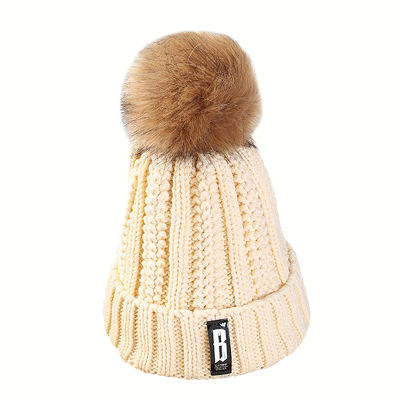 CUHAKCI Winter Hats Female Ball Cap Pompom Knitted Skullies Womens Beanies Fur Thick Warm Woman Hat Pink Red Hats M187 1pcs efero winter hats for women fur ball cap pompom beanies cap women knitted hat thick warm cap female girls skullies beanies
