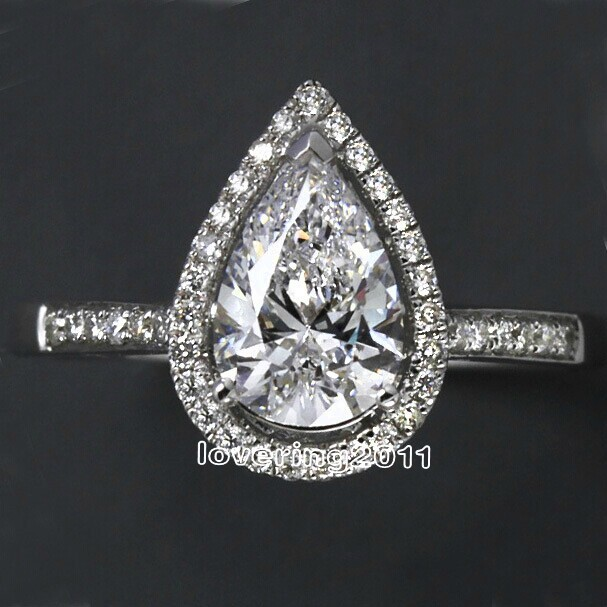 Choucong Pear Cut Shape 5A Zircon Cz 925 Sterling Silver Engagement Wedding Ring Sz 5-11 Free Shipping Gift