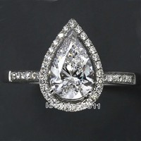 Victoria Wieck Water Shape Simulated Diamond 925 Sterling Silver Engagement Wedding Ring Sz 5 11 Free