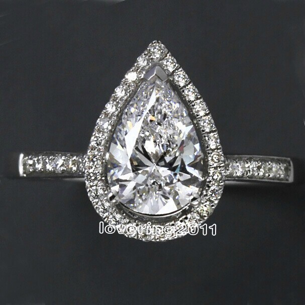 choucong Pear cut shape 5A Zircon Cz 925 Sterling Silver Engagement Wedding Ring