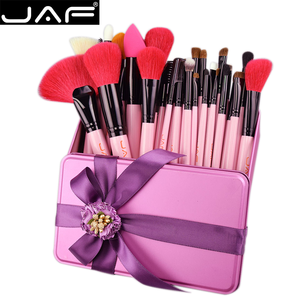 JAF 32 PCS Pink Makeup Brush Set Red Natural Goat Hair Makeup Brushes in Gift Box