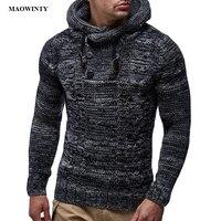 Свитер с капюшоном мужской длинный рукав тонкий прилегающий вязаный свитер пуловер 2019 Осень Зима Плюс Размер трикотаж Pull Homme джемпер XXXL