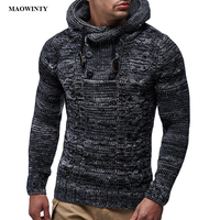 Hooded Sweaters Men Long Sleeve Slim Fit Knitted Sweater Pullover 2019 Autumn Winter Plus Size Knitwear Pull Homme Jumper XXXL