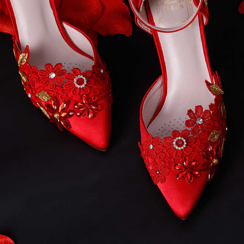 42be444e58e7 ... 7cm High Heels Red Wedding Shoes Women Pumps Crystal Lace Flowers Gold  Leaves Stiletto Buckle Strap ...