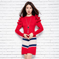 ALKMENE Ruched Women Sweater Dress 2017 New Cloting Women Knitted Sweater O-neck Long Sleeve Women Winter Sweater and Pullover
