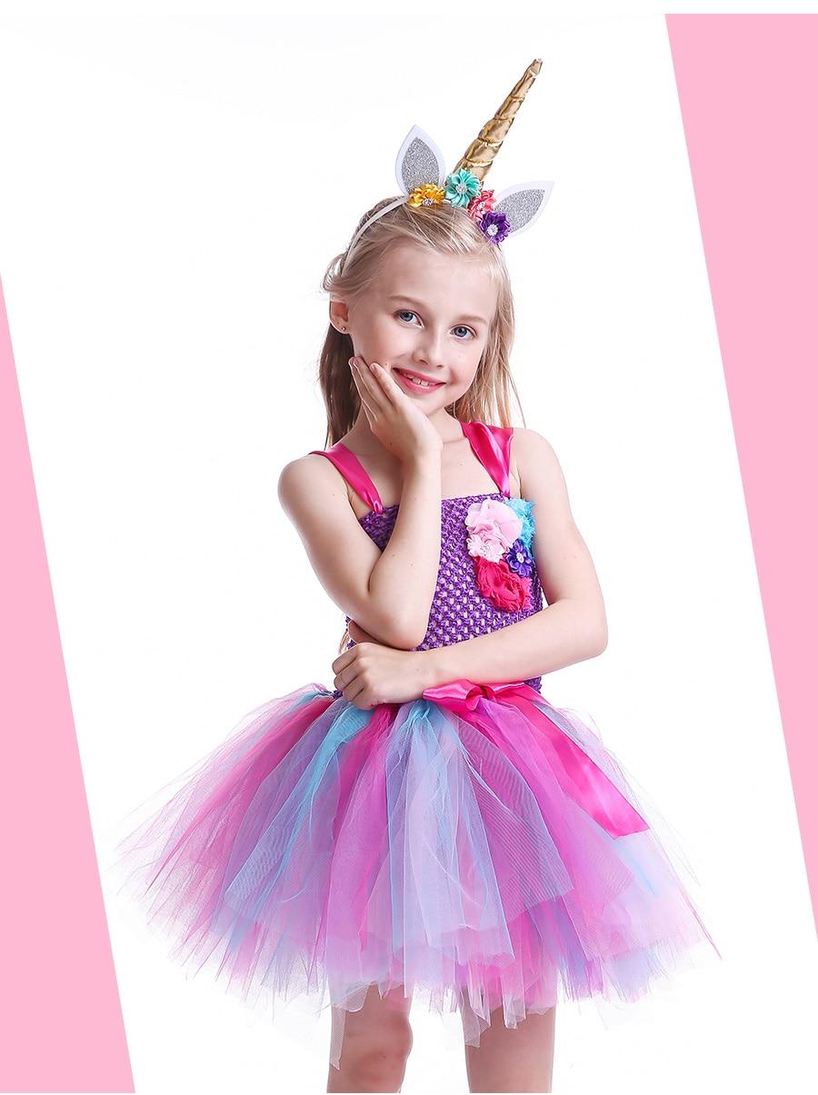 Kids Girls Unicorn Tutu Dress with Headband Knee-Length Pastel Rainbow Flower Girl Dress Kids Halloween Pageant Party Costume (3)