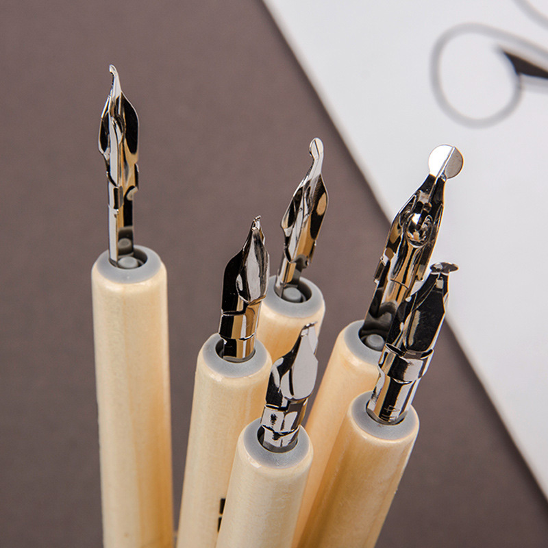 1Pc Art Creative Calligraphy Dip Pens Novelty Wooden Fountain Pens Dip Ink Pens For Kids Gifts School Office Supplies Stationery