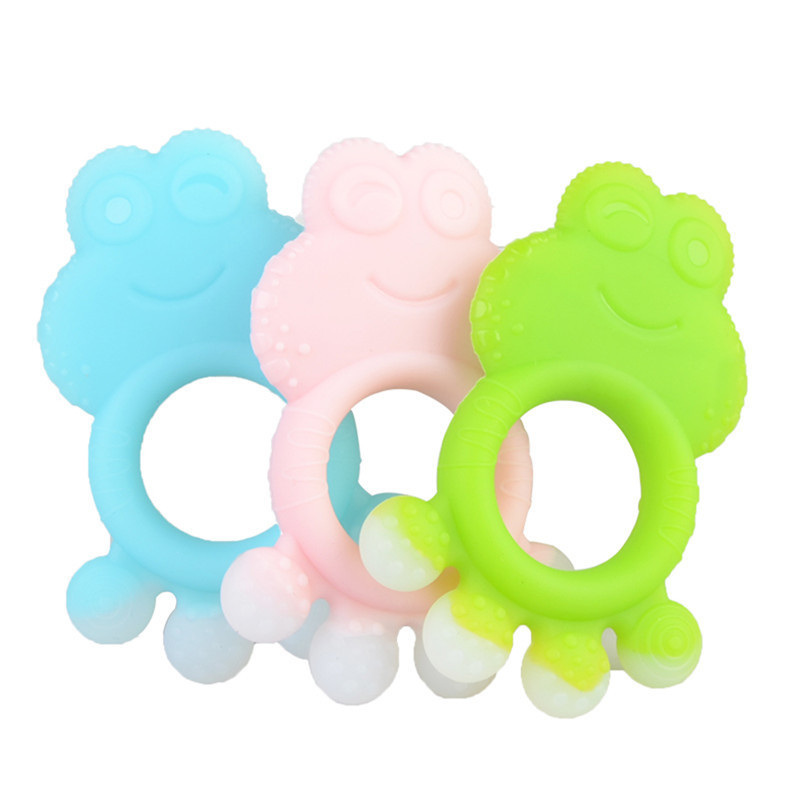 Baby Cartoon Frog Animal Series Teether Baby Safe Food Grade Silicone Ring Teether Infant Teething Toy Solid Dental Care