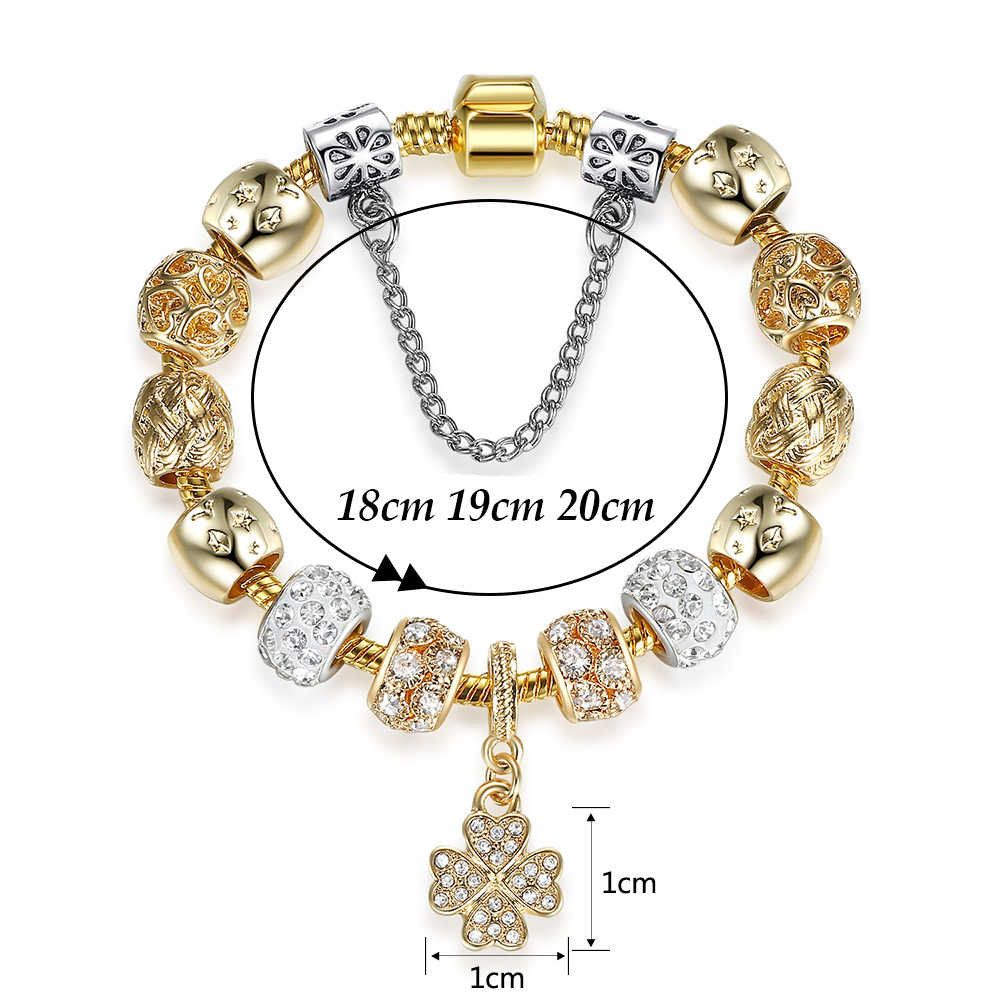 ELESHE europejskie kryształowe cztery liść koniczyny serce Charm bransoletka dla damski złoty łańcuszek koralik bransoletki i Bangles oryginalny Pulsera Mujer
