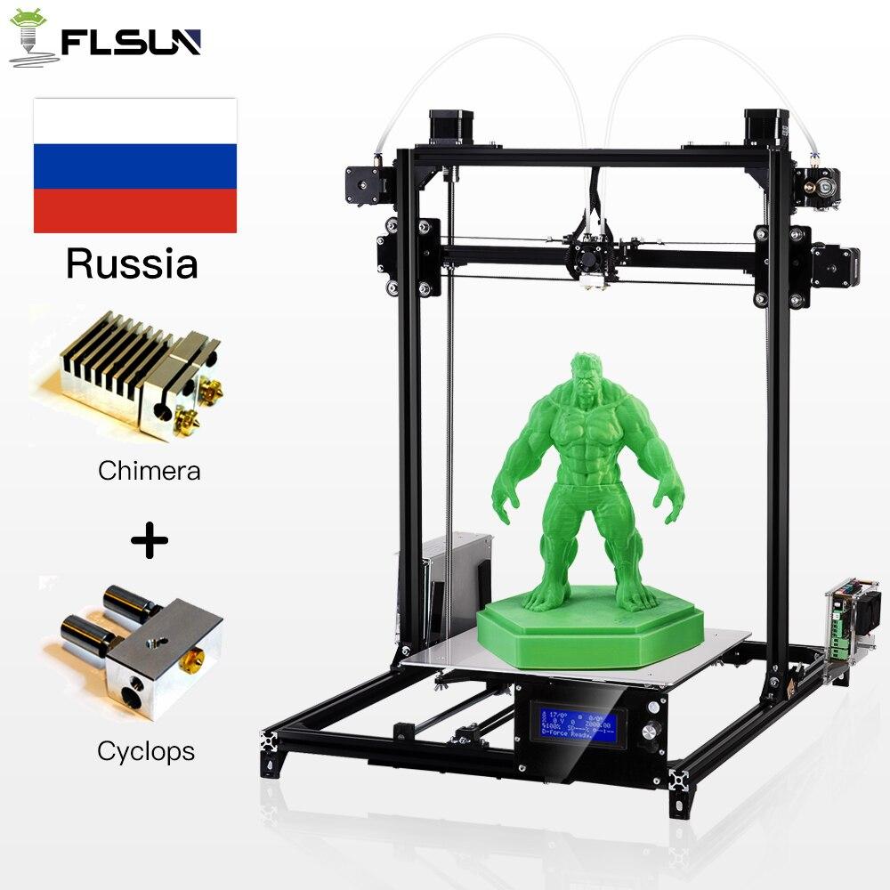 Russe Entrepôt Flsun 3D Imprimante Grande Zone D'impression 300*300*420mm Auto Nivellement All Metal Cadre Double buse Filament Cadeau