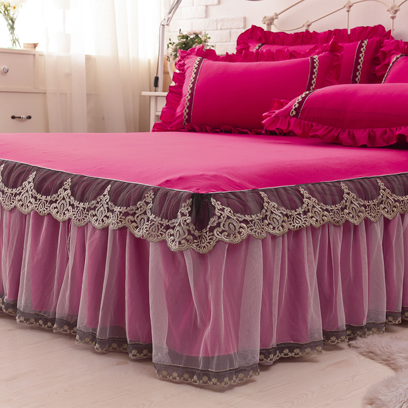 1 3pcs rose red lace bed skirt pillow cases wedding princess bedding girls bedspread bed sheet. Black Bedroom Furniture Sets. Home Design Ideas