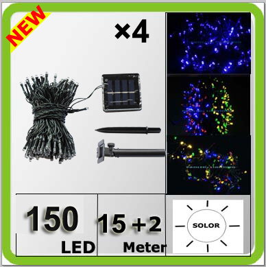 Engros solkraft 150LED jullys farverig Navidad lampara LED streng 17 meter vandtæt IP67 blå hvid gul RGB