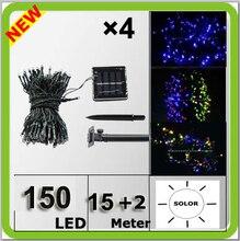 Wholesale solar power 150LED christmas light colorful Navidad lampara LED string 17 meters waterproof IP67 blue white yellow RGB