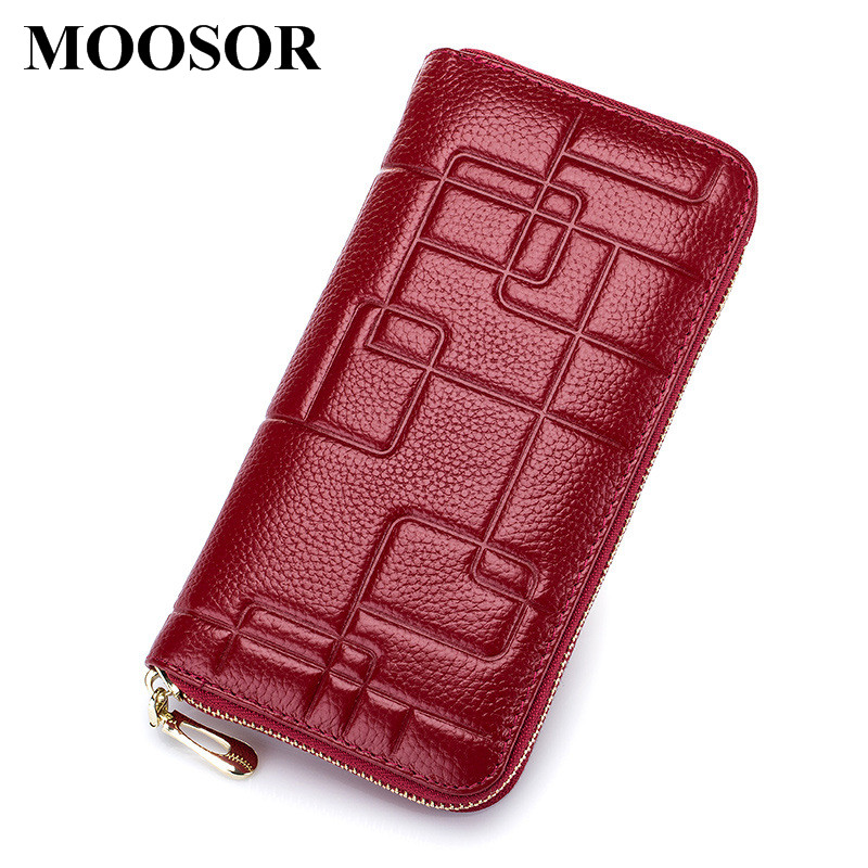 все цены на Fashion Genuine Leather Women Wallet Lady Long Wallets Women Coin Purse Female Wallet Card Holder Money Bag Women Clutch DC133