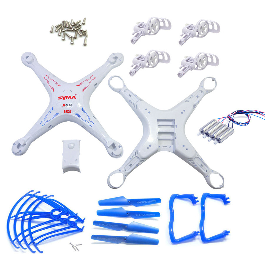Full Set SYMA X5 X5C Main Body Shell Cover With 22PCS Screw And Motor Propeller Spare Parts For RC Helicopter Accessories chamsgend best seller free shipping new full set replacement spare parts for syma s107 rc helicopter red mar11 wholesale