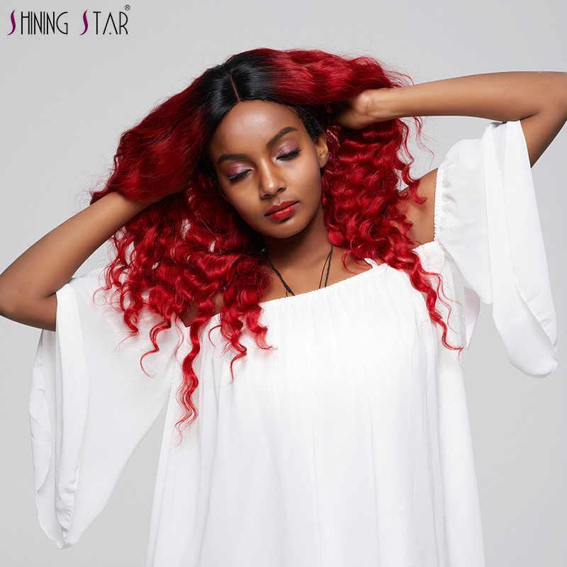 Brillante estrella 3 1B rojo suelto profundo paquetes con cierre Ombre 100% cabello humano tejer Pelo Rizado mongol con cierre no reumáticas trama
