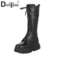 DORATASIA Fashion Large Size 33-43 mid-calf Platform Motorcycle Boots Women Winter 2018 Fur lace-up Punk High Heels Shoes Woman