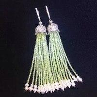 Qi Xuan_Trendy jewelry_S925 Стерлинговое серебро с покрытием из белого золота ручной работы инкрустация Перидот Кисточка Серьги