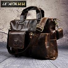 """Leather Mens Genuíno Estilo Antigo Pastas Negócios 16 """"Casos de Laptop Adido Messenger Bags Tote B260"""