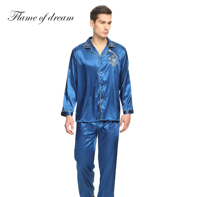 Sweet-Tempered Pajamas For Men Pyjama Homme Mens Silk Shirts Pyjamas Men Male Sleepwear Mens Sexy Sleepwear Pajamas Men Mens Silk Pajamas 006 Clear-Cut Texture Men's Sleep & Lounge