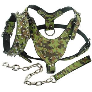 Image 4 - Leather Dog Harness Spiked Studded Dog Pet Collar Harness and Chain Leash Set for Medium Large Xlarge Breeds Pitbull Mastiff