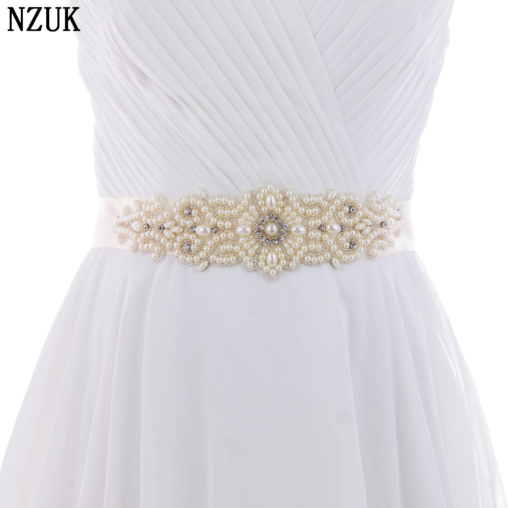 Fashion Luxurious Handmade Rhinestone Bead Silk Ribbon Pearl Crystal Wedding Party Bride Bridesmaid Gown Dress Sash