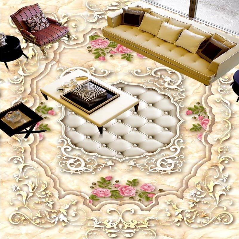 Free shipping custom Continental marble pattern rose 3D floor vintage floor baby room living room wallpaper waterproof mural