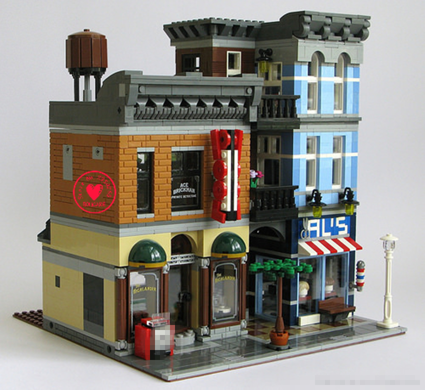 цена на New 2262Pcs Street Detective's Office fit legoings creator city streetview figures Model Building Blocks Bricks 10246