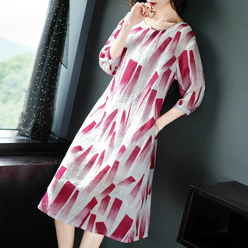 2019 Spring Summer Ink Painting Print Dress Women Red Blue Half Sleeve Midi Dress Women A Line Vintage Dresses Ladies Vestidos in Dresses from Women 39 s Clothing