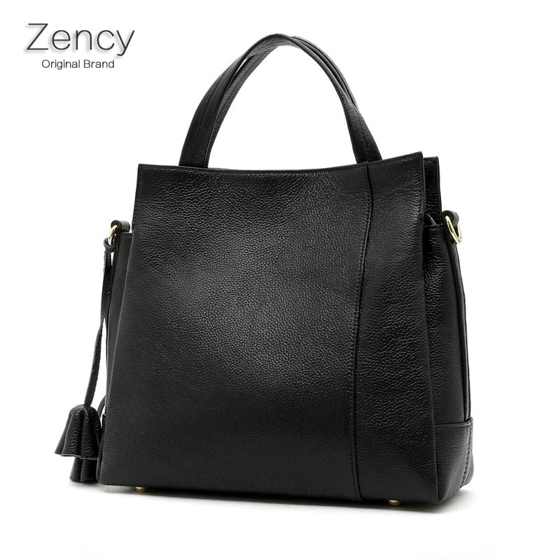 ZENCY Brand Top Layer Genuine Cow Leather Women Shopping Bags Handbags Tote Shoulder Messenger Bags