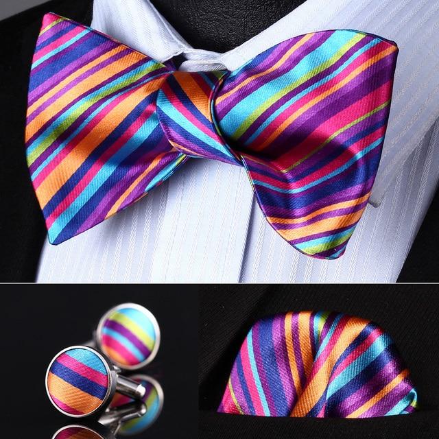 Pocket Square Classic Party Wedding BZS02K Pink Orange Striped Men Silk Self Bow Tie handkerchief Cufflinks set