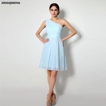 In Stock Light Blue Chiffon One Shoulder Cocktail Dresses Elegant Short Homecoming Dress Knee Length Cheap Simple Formal Dress cocktail dress