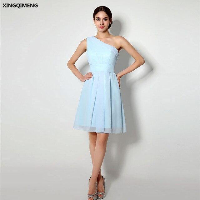 b0d623d3bc675bf В наличии Голубой шифон одно плечо Коктейльные платья Элегантные Короткие  вечерние платья по колено простые дешевые