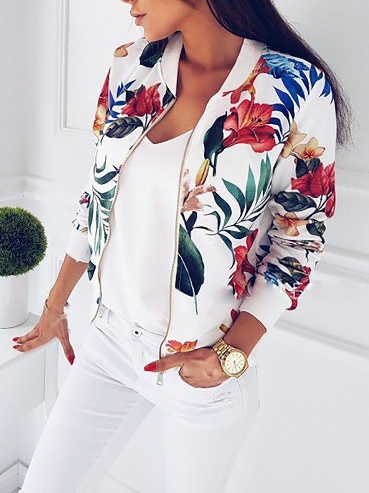 2018 Autumn Women Fashion Casual   Basic     Jacket   Retro Outwear Floral Print Zipper Up Bomber   Jacket   Coat