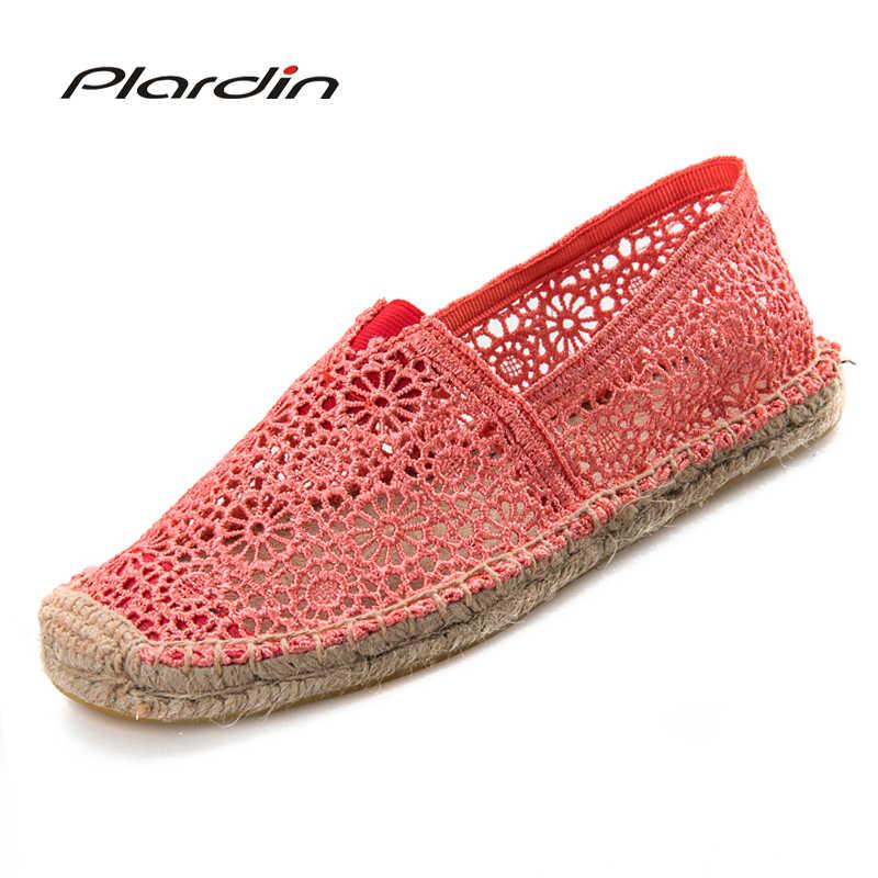Plardin النساء حذاء كاجوال القواطع الربيع النساء المتسكعون قصب القنب سترو الصياد شقة كعب أحذية المرأة الانزلاق على أحذية نسائية
