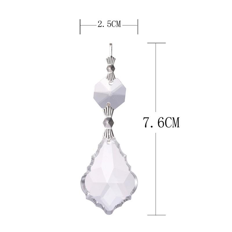 10PCS Clear 38cm French Leaf Silver Bowtie Chakra Spectra Suncatcher Chandelier Glass Crystals Lamp Prisms Parts Hanging Pendant (3)