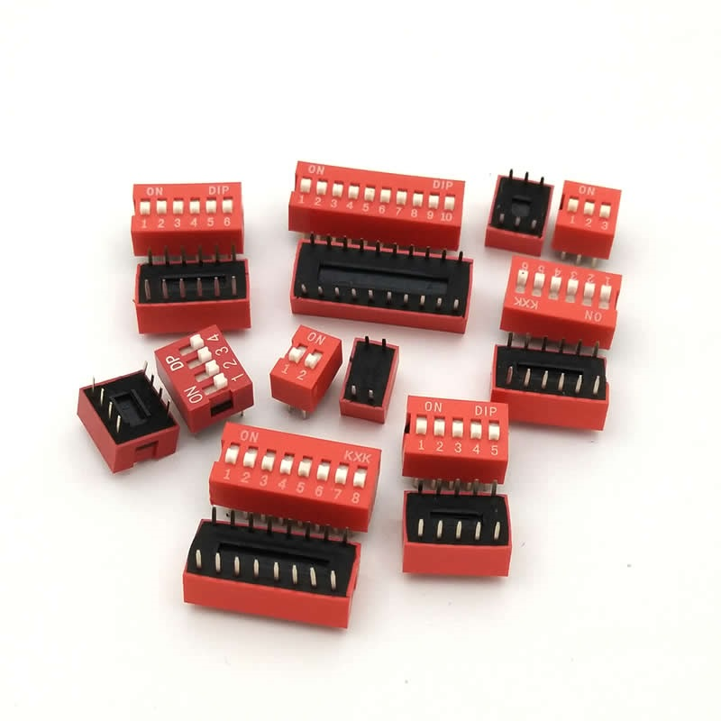 цена на DIP Switch Slide Type Red 2.54mm Pitch 2 Row DIP Toggle switches 2p 3p 4p 5p 6p 8p 10p