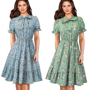 Image 4 - Güzel sonsuza kadar zarif Vintage Polka noktaları Pinup yay vestidos iş parti kadın Flare A Line salıncak kadın elbise A130