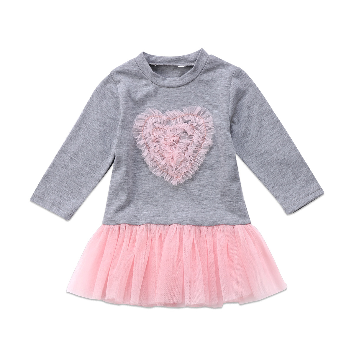 Toddler Kids Baby Girl Dress Autumn Long Sleeve Lace Heart Round Neck Dresses Patchwork Cute Gray Girls Clothing Outfit