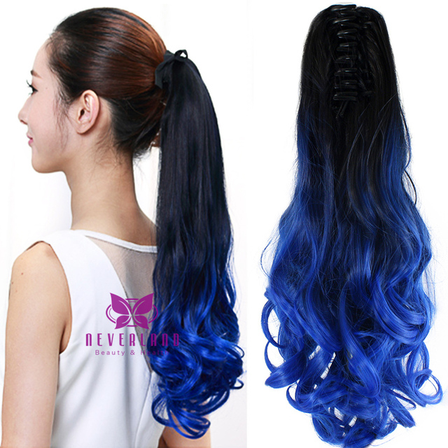 Wholesale Curly Blue Ombre Ponytail Hairpieces 20 50cm Synthetic