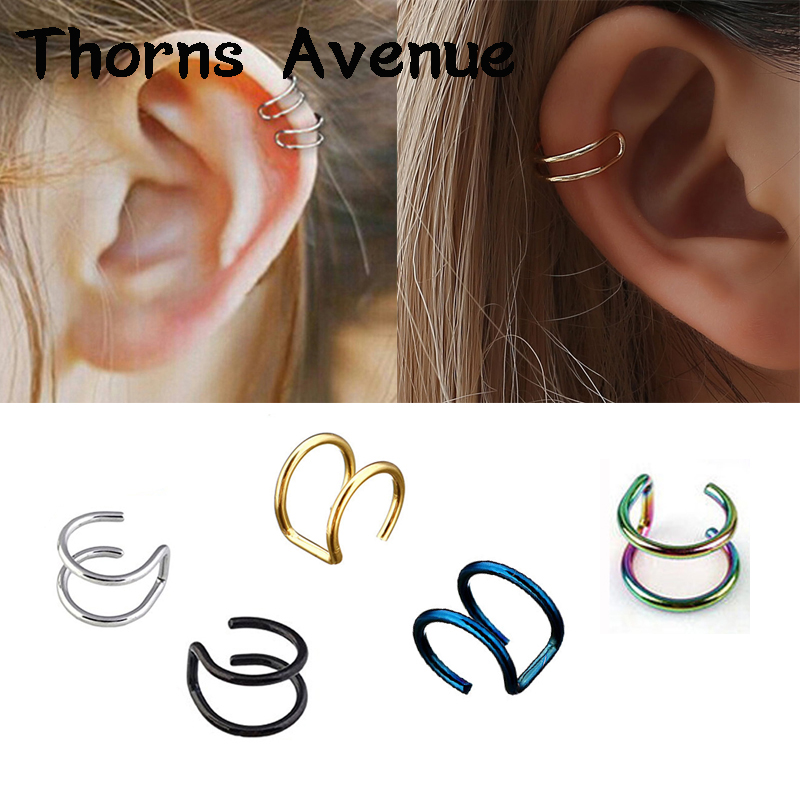 New Fashion 1PC 5 Colors Stainless Steel Earing Cuff Clip On Earrings Ear Cuffs For Women Men Ear Clips Jewelry Accessories