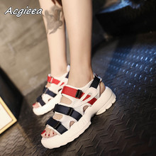 Women's shoes 2018 new  sandals Pingdi thick bottom muffin casual sandals  f109-1