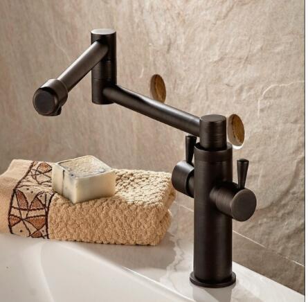 Cuisine or/antique bassin pliant robinet 360 degrés rotatif légume bol robinet chaud et froid robinet pont monté double poignée robinet