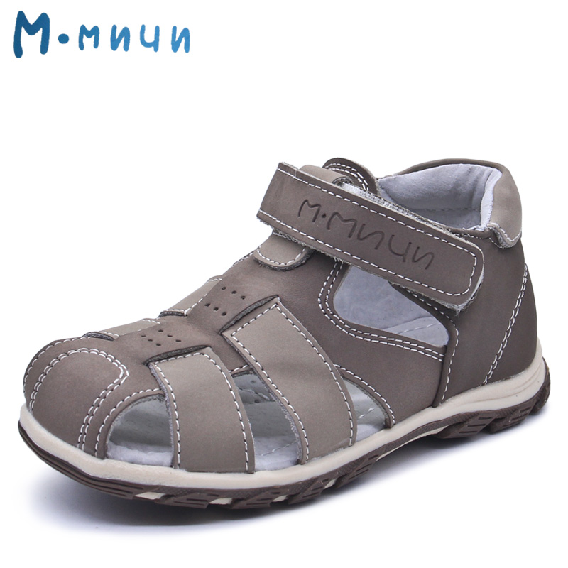 Mmnun Summer Kids Sandals Brand Children Boys Sandals Toe Cap Genuine Leather Kids Sandals for Little Big Boys Size 26-31 ML148A
