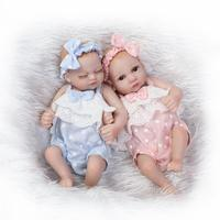 Nicery 10inch 25cm Reborn Baby Doll Soft Silicone Lifelike Toy Gift for Children Christmas Presents Blue Pink Clothes Lovely Toy
